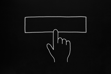 Hand clicking blank button drawn with white chalk on blackboard. Stock Photo - 19408657