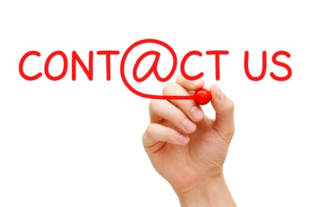 quality questions: Hand writing Contact Us with red marker on transparent wipe board. Stock Photo