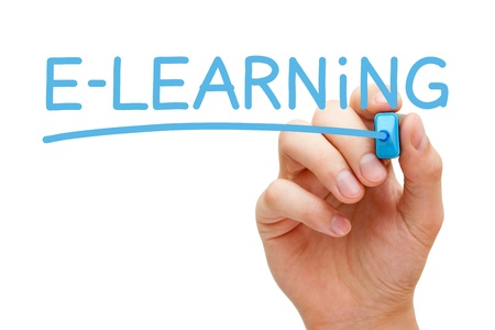 elearning: Hand writing E-learning with blue marker on transparent wipe board. Stock Photo