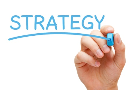 Hand writing Strategy with blue marker on transparent wipe board. Stock Photo - 19801826