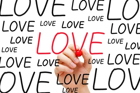 Hand writing Love with red marker on transparent wipe board. Concept about finding the right love. Stock Photo - 19801827