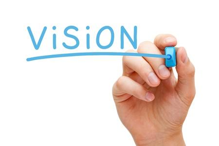 pr�voyance: �crit � la main Vision avec un marqueur bleu sur fond transparent conseil essuyer. Banque d'images