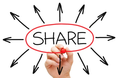 Hand drawing Sharing concept with red marker on transparent wipe board. Stock Photo - 20412243