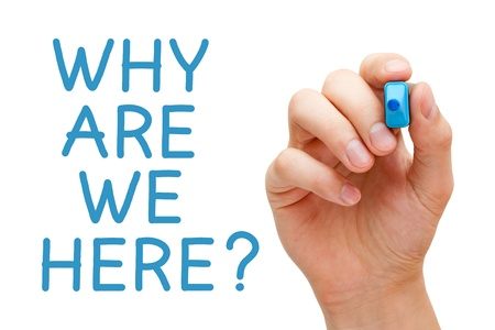 Hand writing Why Are We Here with blue marker on transparent wipe board. Stock Photo