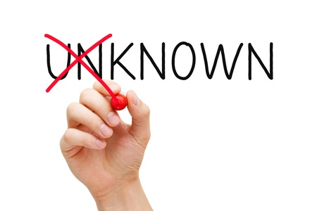 noted: Hand turning the word Unknown into Known with red marker isolated on white. Stock Photo