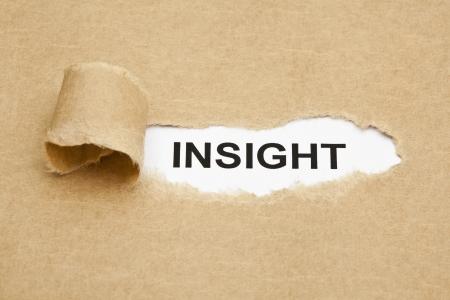 penetracion: La palabra Insight aparece detr�s de papel marr�n rasgado. Foto de archivo