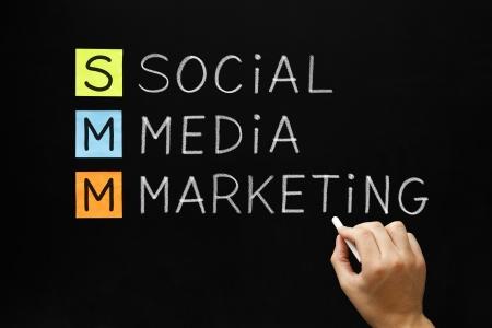Hand writing Social Media Marketing with white chalk on blackboard. Stock Photo - 21261897