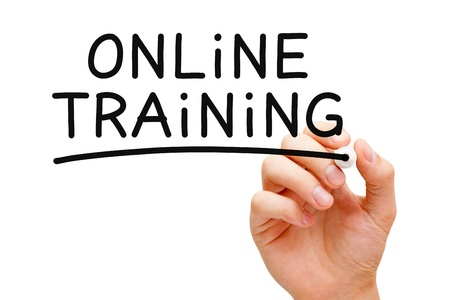 personal training: Hand writing Online Training with black marker on transparent wipe board.