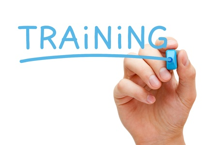 手書きのトレーニング青色のマーカーと透明なワイプ ボード上。 写真素材