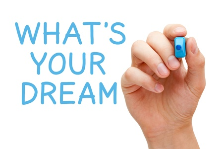 dream vision: Hand writing Whats Your Dream with blue marker on transparent wipe board. Stock Photo