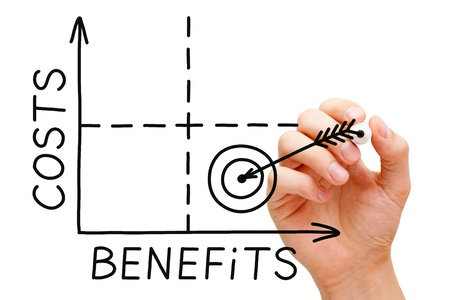 perks: Hand drawing Costs-Benefits graph with black marker isolated on white. Stock Photo