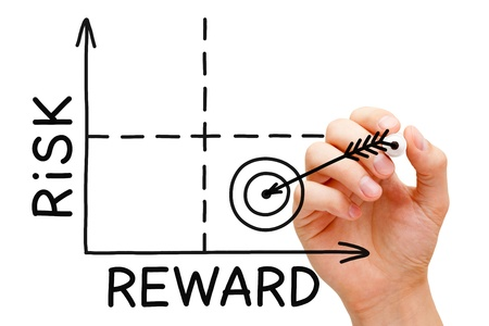 rewards: Hand drawing Risk Reward graph with black marker isolated on white. Stock Photo