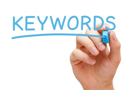 keywords link: Hand writing Keywords with blue marker on transparent wipe board. Stock Photo
