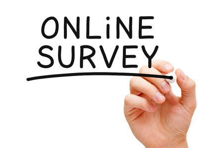 electronic survey: Hand writing Online Survey with black marker on transparent wipe board.