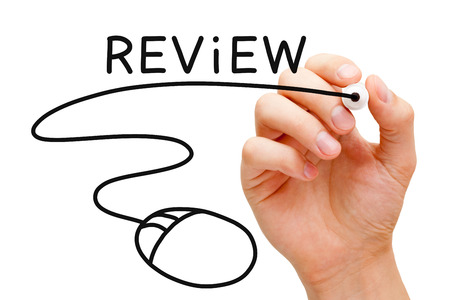 Hand sketching Online Review Concept with black marker on transparent wipe board. Stock Photo - 23096859