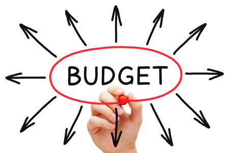 Hand sketching Budget concept with red marker on transparent wipe board.  Stock Photo