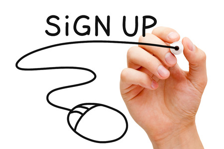 signup: Hand sketching Sign Up Concept with black marker on transparent wipe board.