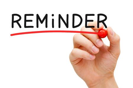 avviso importante: Sottolineando Mano Reminder con pennarello rosso sulla Lavagna trasparente.