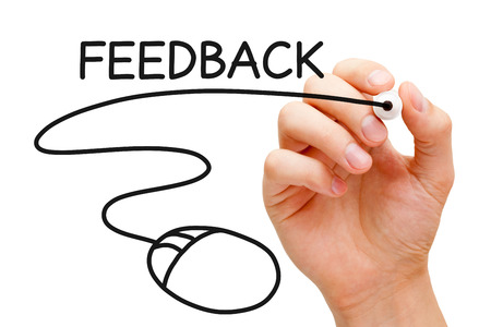 Hand sketching Feedback Mouse Concept with black marker on transparent wipe board. Stock Photo - 24517305