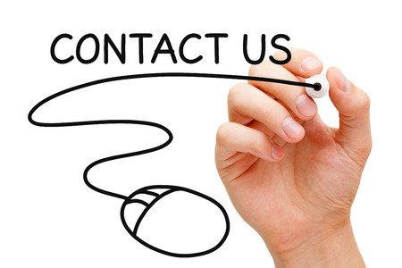 email us: Hand sketching Contact Us concept with black marker on transparent wipe board.