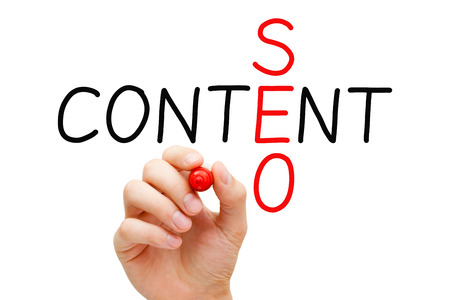 seo services: Hand writing Content SEO crossword with marker on transparent wipe board.