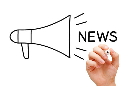 news update: Hand sketching Megaphone News Concept with marker on transparent wipe board. Stock Photo