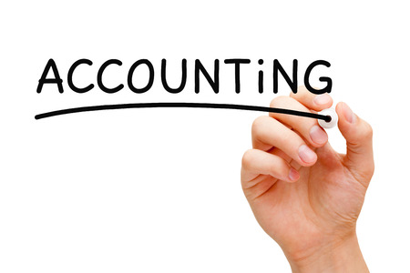 Hand writing Accounting Concept with black marker on transparent wipe board. photo