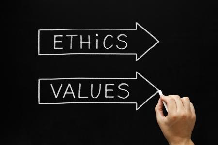 valores morales: Ética y Valores dibujando a mano flechas concepto con tiza blanca sobre una pizarra.