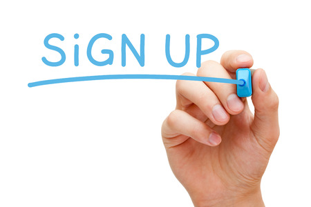registration: Hand writing Sign Up with blue marker on transparent wipe board. Stock Photo