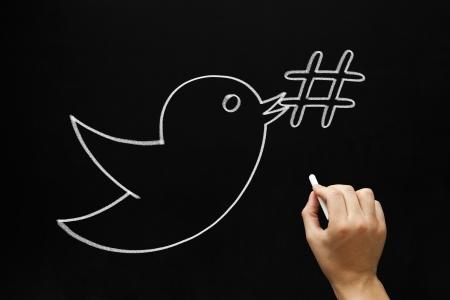 metadata: Abbozzare Mano uccello possesso di un simbolo hashtag nel becco con il gesso bianco su una lavagna.