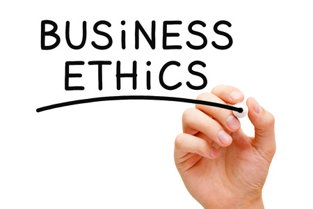 uprightness: Hand writing Business Ethics with black marker on transparent wipe board. Stock Photo