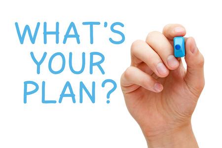 planen: Hand schreiben, was ist Ihr Plan mit blauen Marker auf transparent wischen Bord.