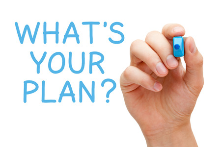 policies: Hand writing Whats Your Plan with blue marker on transparent wipe board.