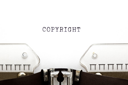 ownership and control: Copyright printed on an old typewriter. Stock Photo