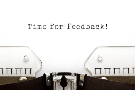 client service: Time for Feedback printed on an old typewriter.