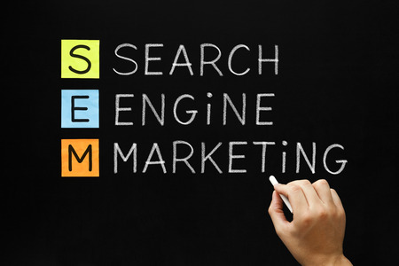 Hand writing Search Engine Marketing with white chalk on blackboard. photo