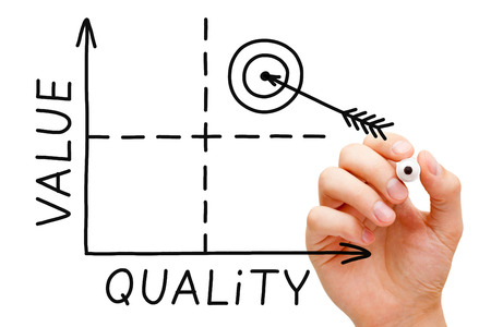 superiority: Hand sketching Value-Quality graph with black marker isolated on white. Stock Photo