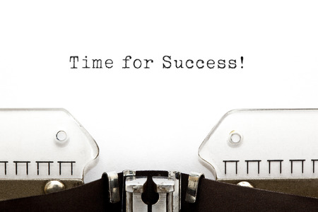 business results: Time For Success printed on an old typewriter. Stock Photo