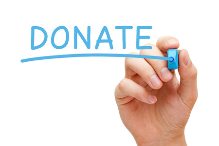 Hand writing Donate with blue marker on transparent wipe board. Stock Photo