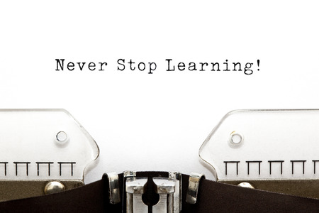 never: Never Stop Learning printed on an old typewriter.