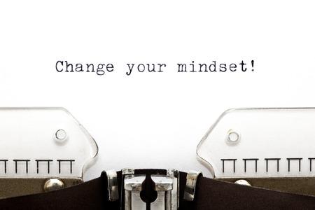 Change Your Mindset printed on an old typewriter Standard-Bild