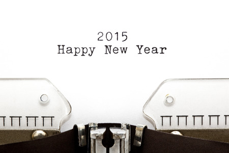 Happy New Year 2015 written on an old typewriter. photo