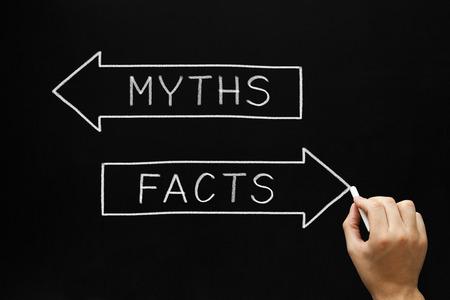 unecht: Hand skizzieren Mythen oder Fakten Konzept mit wei�er Kreide auf Tafel.