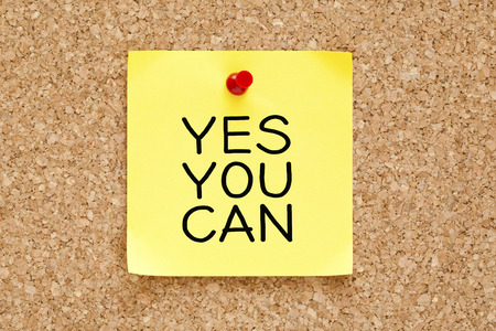 Yes You Can handwritten on yellow sticky note  photo