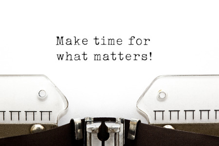 prioritize: Make time for what matters  printed on an old typewriter