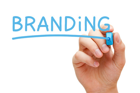 Hand writing Branding with blue marker on transparent wipe board