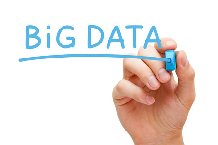 Hand writing Big Data with blue marker on transparent wipe board. Stock Photo - 28075116