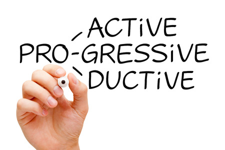 Hand writing Proactive Progressive Productive with black marker on transparent wipe board.