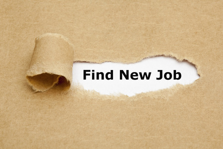 appearing: Find New Job, appearing behind torn brown paper.