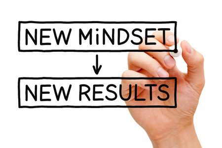 Main écrivant nouvelle mentalité Nouvelle Résultats avec un marqueur noir sur un chiffon bord transparent.